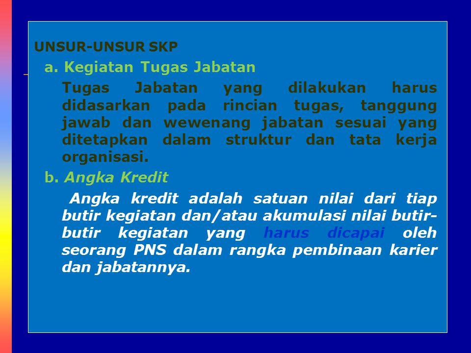 8 UNSUR-UNSUR SKP a. Kegiatan Tugas Jabatan Tugas Jabatan yang dilakukan harus didasarkan pada rincian tugas, tanggung jawab dan wewenang jabatan sesu