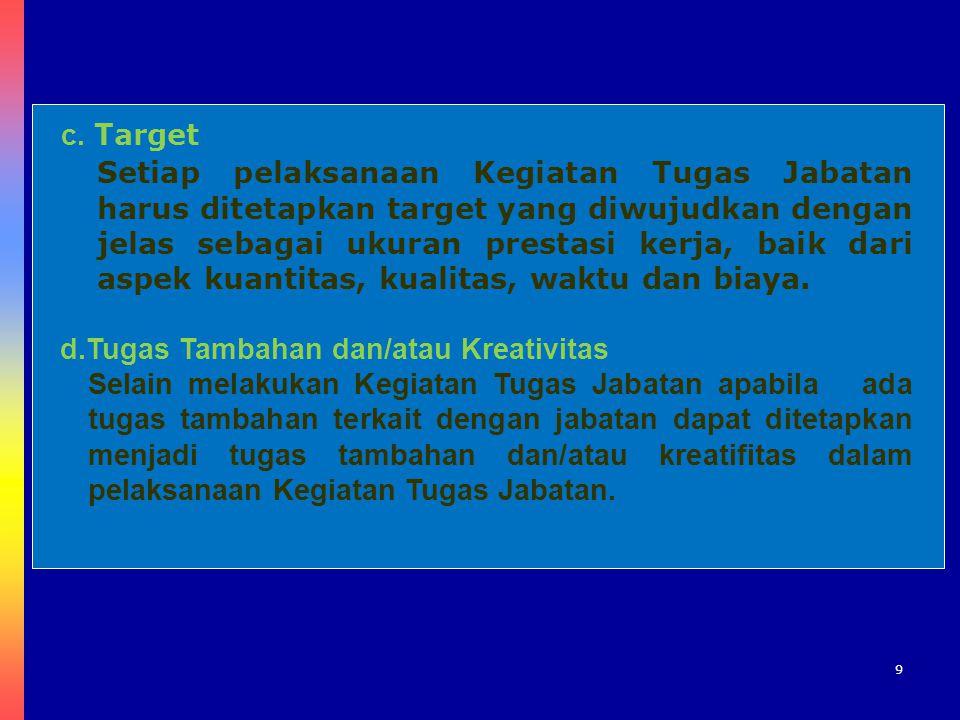 9 c. Target Setiap pelaksanaan Kegiatan Tugas Jabatan harus ditetapkan target yang diwujudkan dengan jelas sebagai ukuran prestasi kerja, baik dari as