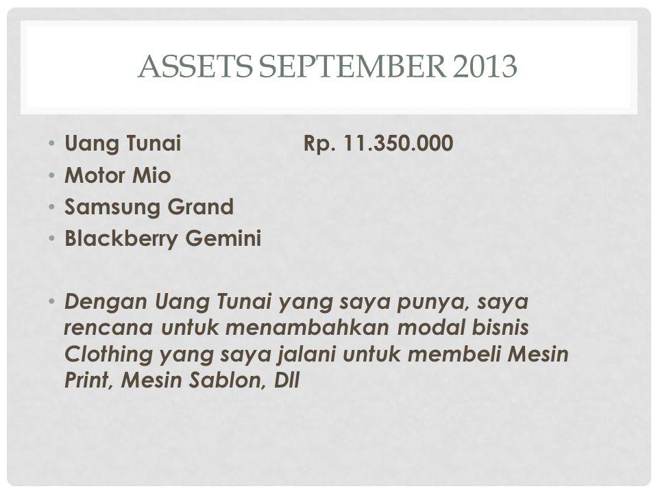 ASSETS SEPTEMBER 2013 Uang TunaiRp.
