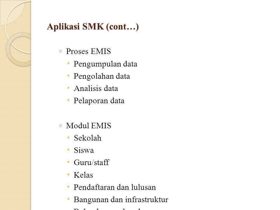 Aplikasi SMK (cont…) ◦ Proses EMIS  Pengumpulan data  Pengolahan data  Analisis data  Pelaporan data ◦ Modul EMIS  Sekolah  Siswa  Guru/staff  Kelas  Pendaftaran dan lulusan  Bangunan dan infrastruktur  Buku dan sumber daya  Dana