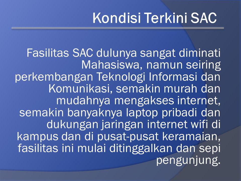 Fasilitas SAC dulunya sangat diminati Mahasiswa, namun seiring perkembangan Teknologi Informasi dan Komunikasi, semakin murah dan mudahnya mengakses i
