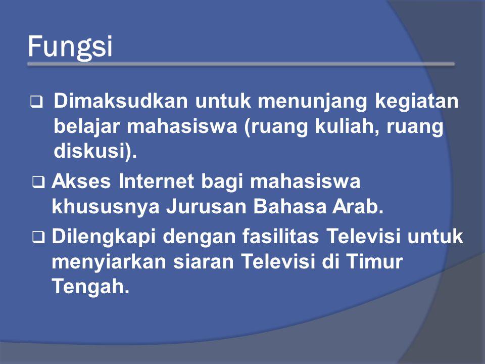 Fungsi  Dimaksudkan untuk menunjang kegiatan belajar mahasiswa (ruang kuliah, ruang diskusi).  Akses Internet bagi mahasiswa khususnya Jurusan Bahas