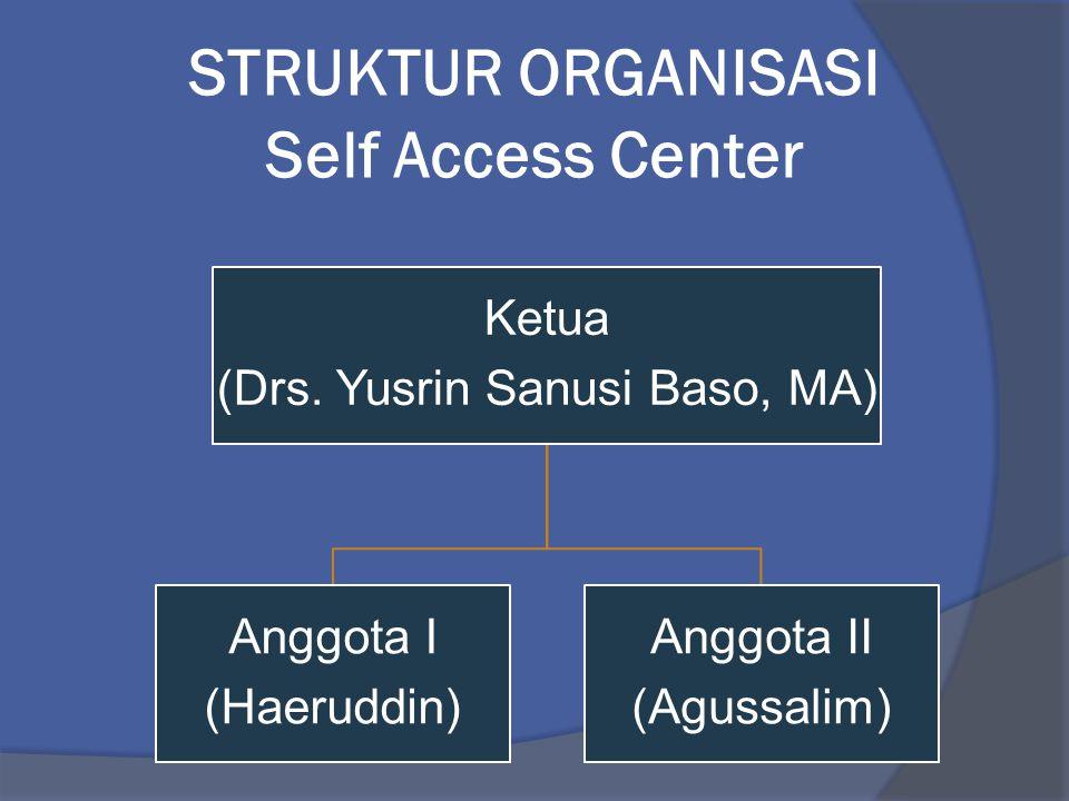 STRUKTUR ORGANISASI Self Access Center Ketua (Drs. Yusrin Sanusi Baso, MA) Anggota I (Haeruddin) Anggota II (Agussalim)