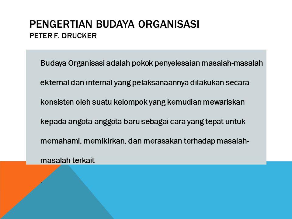 PENGERTIAN BUDAYA ORGANISASI PETER F. DRUCKER Budaya Organisasi adalah pokok penyelesaian masalah-masalah ekternal dan internal yang pelaksanaannya di