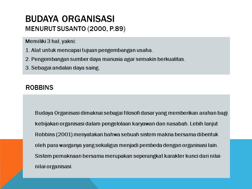BUDAYA ORGANISASI MENURUT SUSANTO (2000, P.89) Memiliki 3 hal, yakni: 1. Alat untuk mencapai tujuan pengembangan usaha. 2. Pengembangan sumber daya ma