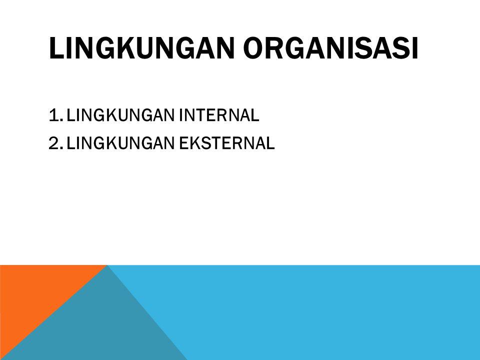 LINGKUNGAN ORGANISASI 1.LINGKUNGAN INTERNAL 2.LINGKUNGAN EKSTERNAL