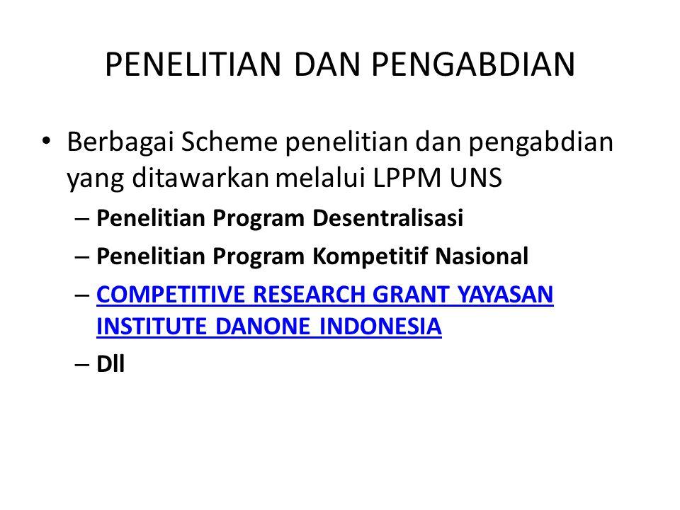 PENELITIAN DAN PENGABDIAN Berbagai Scheme penelitian dan pengabdian yang ditawarkan melalui LPPM UNS – Penelitian Program Desentralisasi – Penelitian Program Kompetitif Nasional – COMPETITIVE RESEARCH GRANT YAYASAN INSTITUTE DANONE INDONESIA COMPETITIVE RESEARCH GRANT YAYASAN INSTITUTE DANONE INDONESIA – Dll