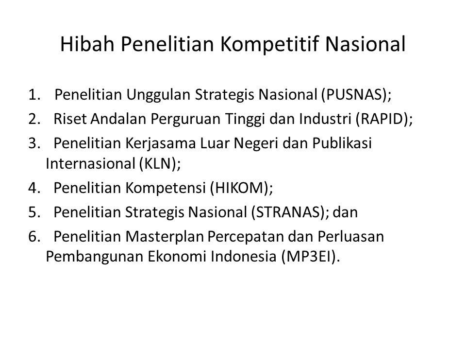 Hibah Penelitian Kompetitif Nasional 1.Penelitian Unggulan Strategis Nasional (PUSNAS); 2.