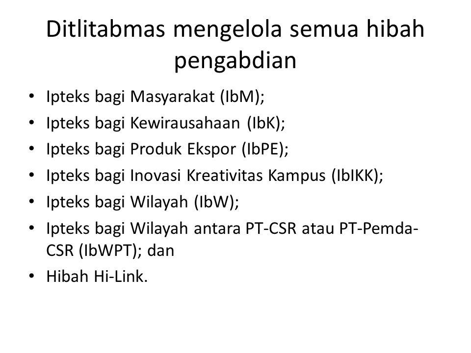 Ditlitabmas mengelola semua hibah pengabdian Ipteks bagi Masyarakat (IbM); Ipteks bagi Kewirausahaan (IbK); Ipteks bagi Produk Ekspor (IbPE); Ipteks bagi Inovasi Kreativitas Kampus (IbIKK); Ipteks bagi Wilayah (IbW); Ipteks bagi Wilayah antara PT-CSR atau PT-Pemda- CSR (IbWPT); dan Hibah Hi-Link.