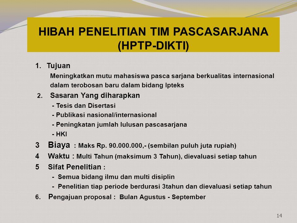 HIBAH PENELITIAN TIM PASCASARJANA (HPTP-DIKTI) 1. Tujuan Meningkatkan mutu mahasiswa pasca sarjana berkualitas internasional dalam terobosan baru dala