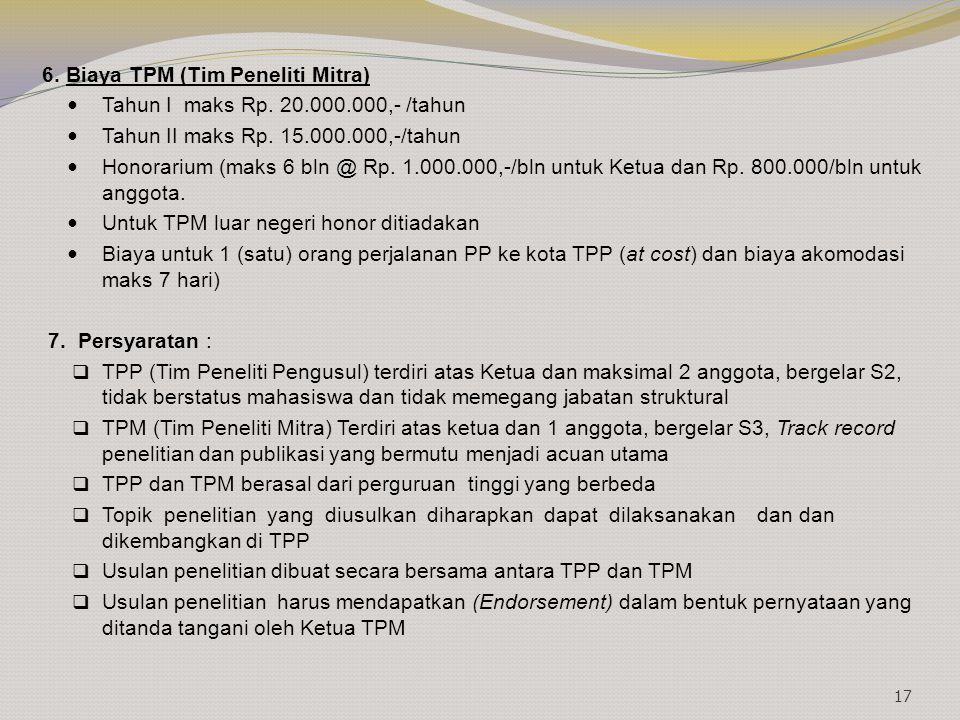 6. Biaya TPM (Tim Peneliti Mitra) Tahun I maks Rp. 20.000.000,- /tahun Tahun II maks Rp. 15.000.000,-/tahun Honorarium (maks 6 bln @ Rp. 1.000.000,-/b