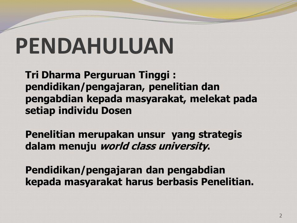 PENDAHULUAN 2 Tri Dharma Perguruan Tinggi : pendidikan/pengajaran, penelitian dan pengabdian kepada masyarakat, melekat pada setiap individu Dosen Pen
