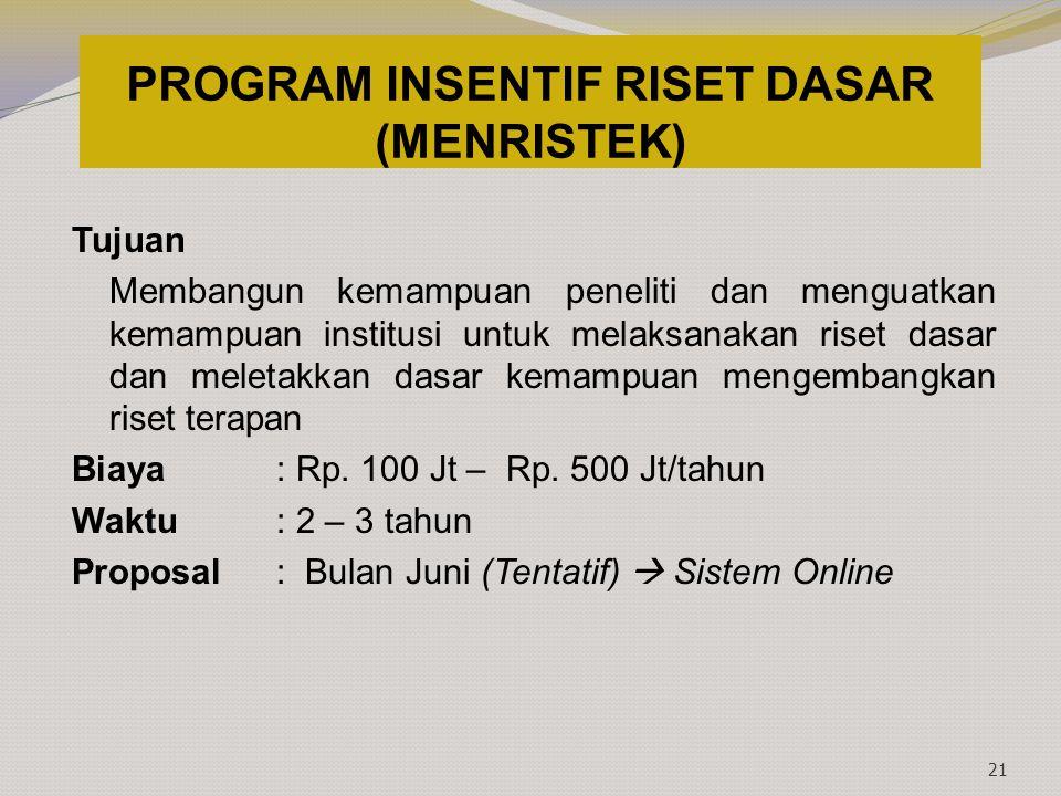 PROGRAM INSENTIF RISET DASAR (MENRISTEK) Tujuan Membangun kemampuan peneliti dan menguatkan kemampuan institusi untuk melaksanakan riset dasar dan mel