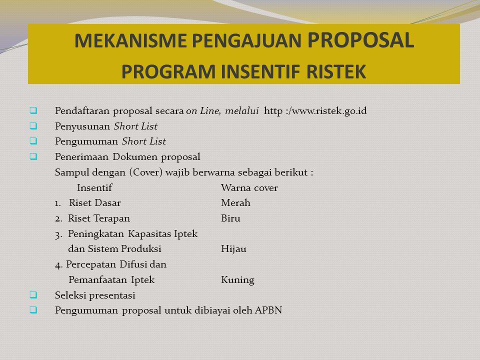 MEKANISME PENGAJUAN PROPOSAL PROGRAM INSENTIF RISTEK  Pendaftaran proposal secara on Line, melalui http :/www.ristek.go.id  Penyusunan Short List 