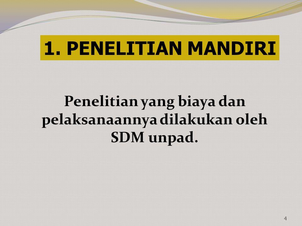 Penelitian yang biaya dan pelaksanaannya dilakukan oleh SDM unpad. 4 1. PENELITIAN MANDIRI