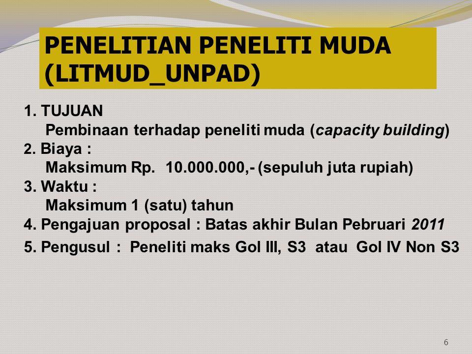 1. TUJUAN Pembinaan terhadap peneliti muda (capacity building) 2. Biaya : Maksimum Rp. 10.000.000,- (sepuluh juta rupiah) 3. Waktu : Maksimum 1 (satu)