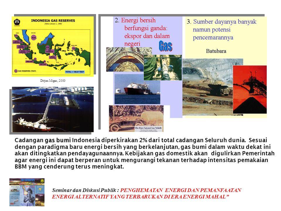 POTENSI 27.000 MW Produksi: Kamojang 140 MW Salak 330 MW Darajat 55 MW Dieng 60 MW Sibanyak 2 MW Ditjen Migas, 2000 Biro Perencanaan, 20000 Seminar da