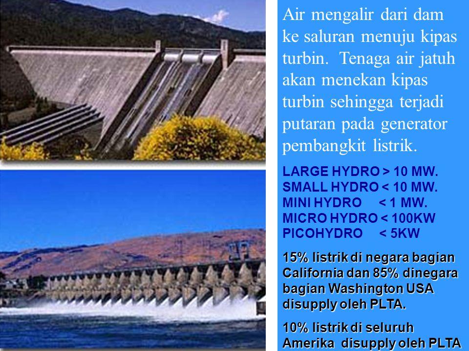 TENAGA AIR Kejatuhan air bisa diatur sedemikian sehingga bisa menggerak kan beberapa turbin pembangkit listrik sekaligus.