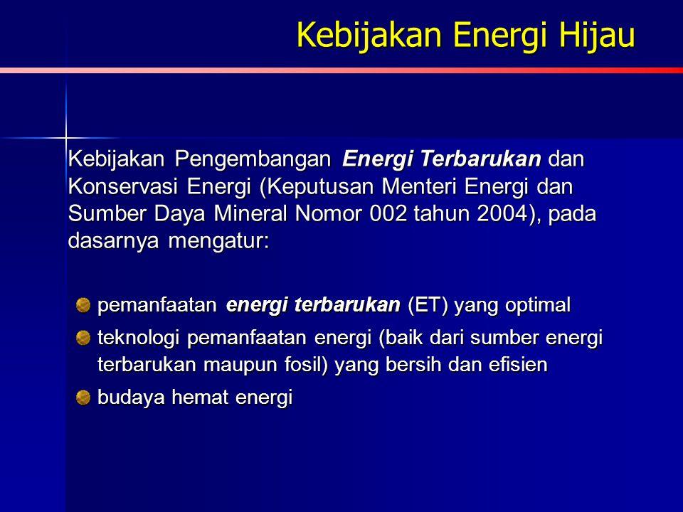 PP No. 3 Tahun 2005 Pasal 2 Ayat (3) : Penyediaan tenaga listrik dilakukan dengan memanfaatkan seoptimal mungkin sumber energi primer yang terdapat di