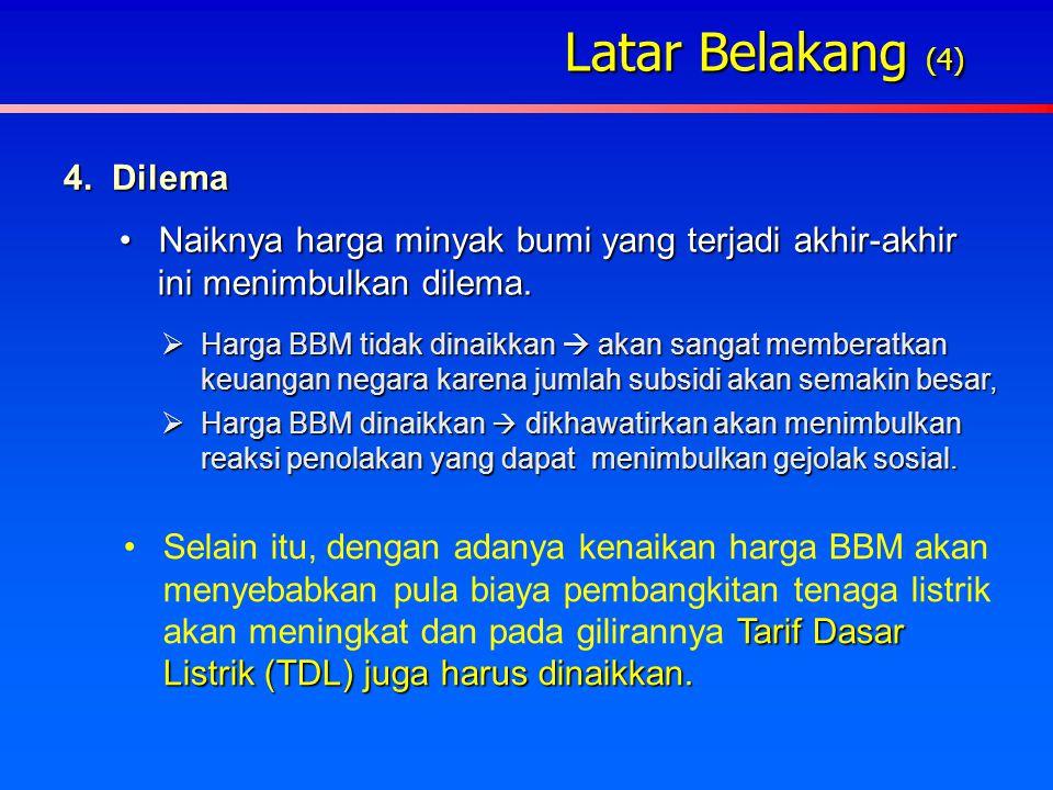 Latar Belakang (3) 3. Indonesia sudah menjadi net importer minyak bumi