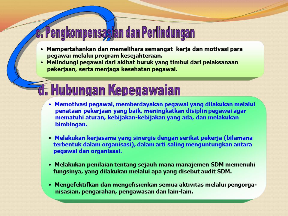 Mempertahankan dan memelihara semangat kerja dan motivasi para pegawai melalui program kesejahteraan.