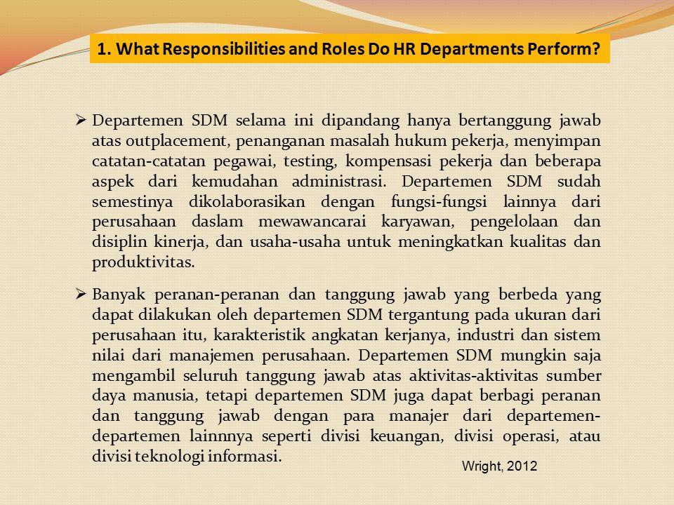  Departemen SDM selama ini dipandang hanya bertanggung jawab atas outplacement, penanganan masalah hukum pekerja, menyimpan catatan-catatan pegawai,