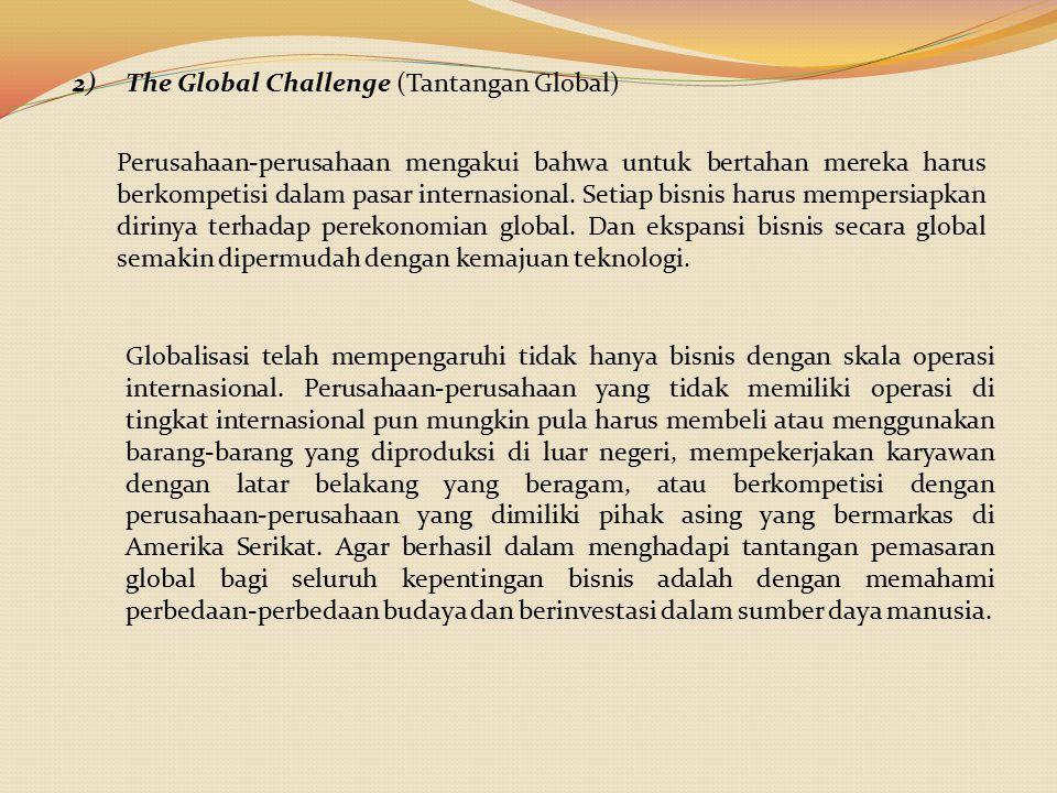 2)The Global Challenge (Tantangan Global) Perusahaan-perusahaan mengakui bahwa untuk bertahan mereka harus berkompetisi dalam pasar internasional. Set