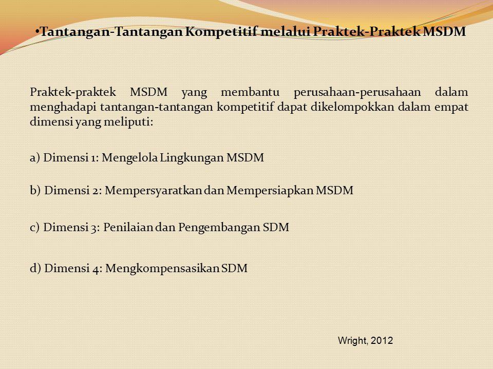 Tantangan-Tantangan Kompetitif melalui Praktek-Praktek MSDM Praktek-praktek MSDM yang membantu perusahaan-perusahaan dalam menghadapi tantangan-tantan