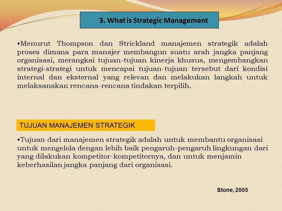 Menurut Thompson dan Strickland manajemen strategik adalah proses dimana para manajer membangun suatu arah jangka panjang organisasi, merangkai tujuan