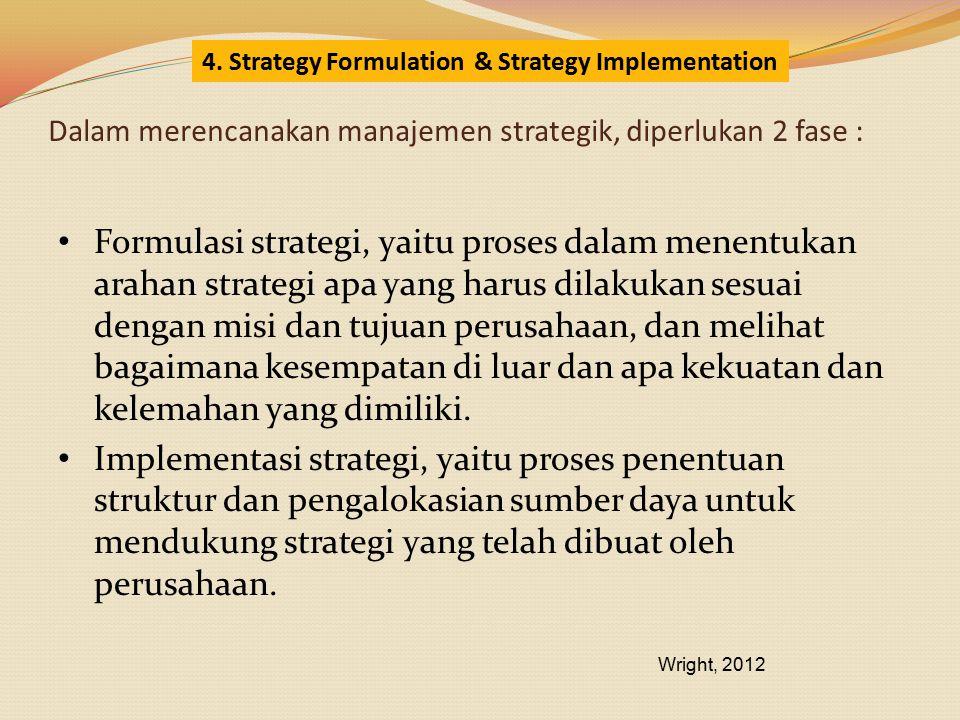 Dalam merencanakan manajemen strategik, diperlukan 2 fase : Formulasi strategi, yaitu proses dalam menentukan arahan strategi apa yang harus dilakukan