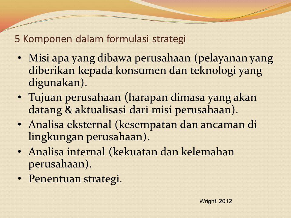 5 Komponen dalam formulasi strategi Misi apa yang dibawa perusahaan (pelayanan yang diberikan kepada konsumen dan teknologi yang digunakan). Tujuan pe