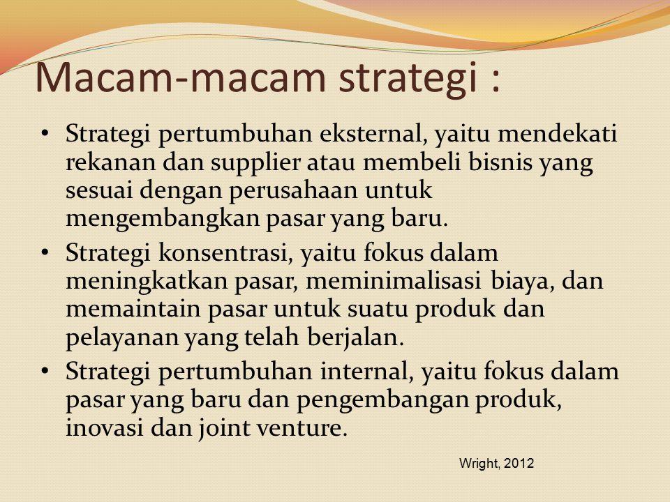 Macam-macam strategi : Strategi pertumbuhan eksternal, yaitu mendekati rekanan dan supplier atau membeli bisnis yang sesuai dengan perusahaan untuk me