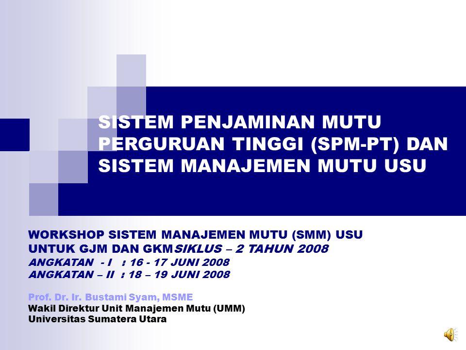 8 Jenis SNP (Standar Minimal) Standar Lain (Melampaui SNP) Wajib Internallydriven InsanIndonesia Cerdas & Kompetitif SPM-PT Berdasarkan PP.