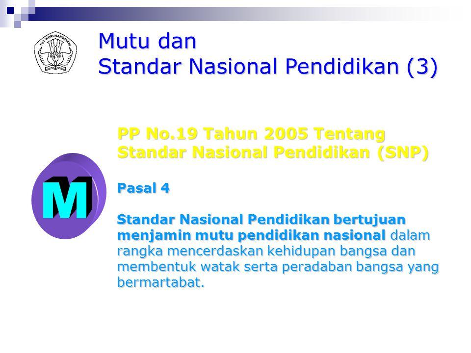 Mutu dan Standar Nasional Pendidikan (2) PP No.19 Tahun 2005 Tentang Standar Nasional Pendidikan (SNP) Pasal 2 ayat (1) Lingkup Standar Nasional pendi