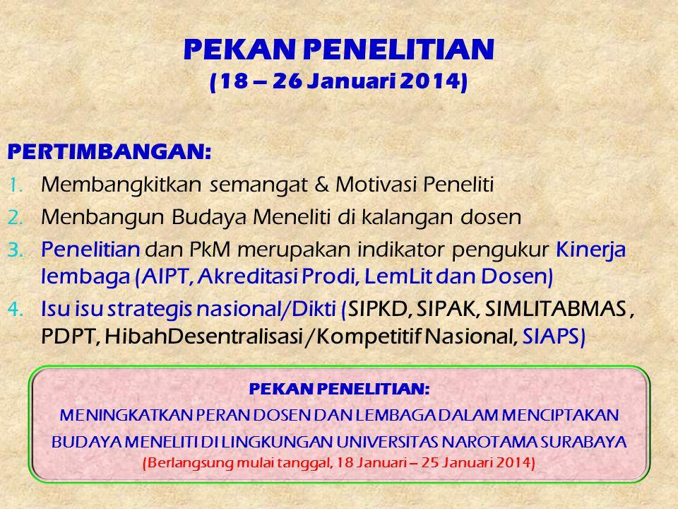 PEKAN PENELITIAN (18 – 26 Januari 2014) PERTIMBANGAN: 1. Membangkitkan semangat & Motivasi Peneliti 2. Menbangun Budaya Meneliti di kalangan dosen 3.