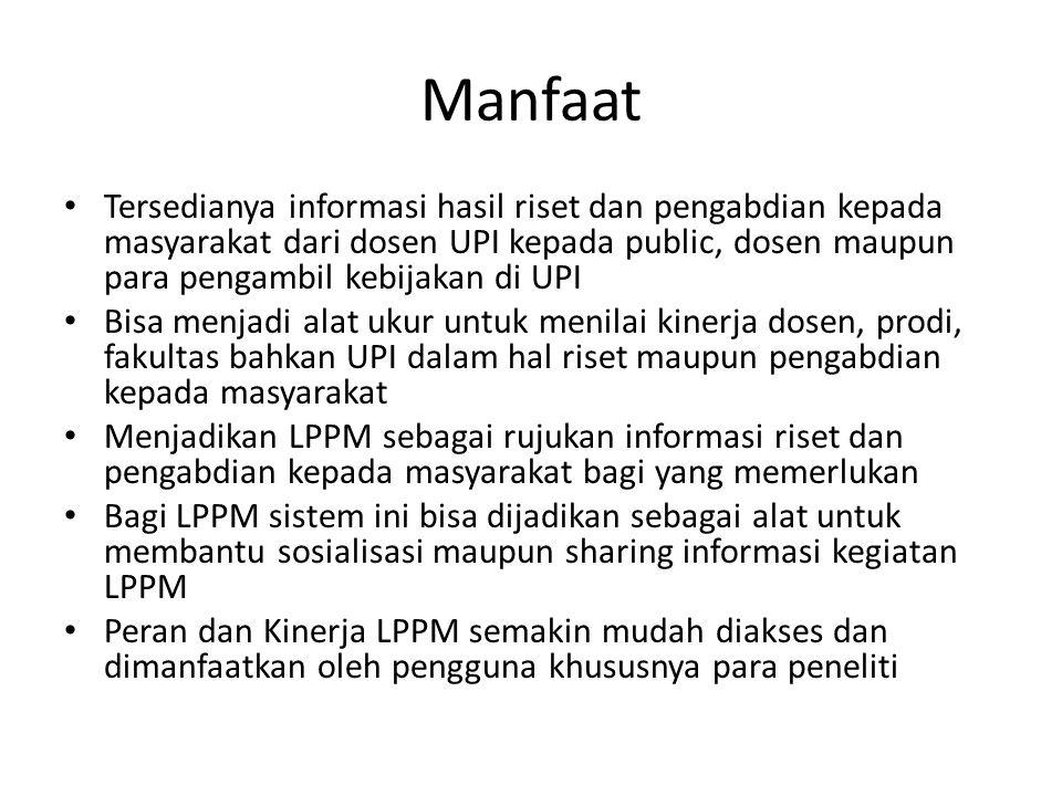 Manfaat Tersedianya informasi hasil riset dan pengabdian kepada masyarakat dari dosen UPI kepada public, dosen maupun para pengambil kebijakan di UPI