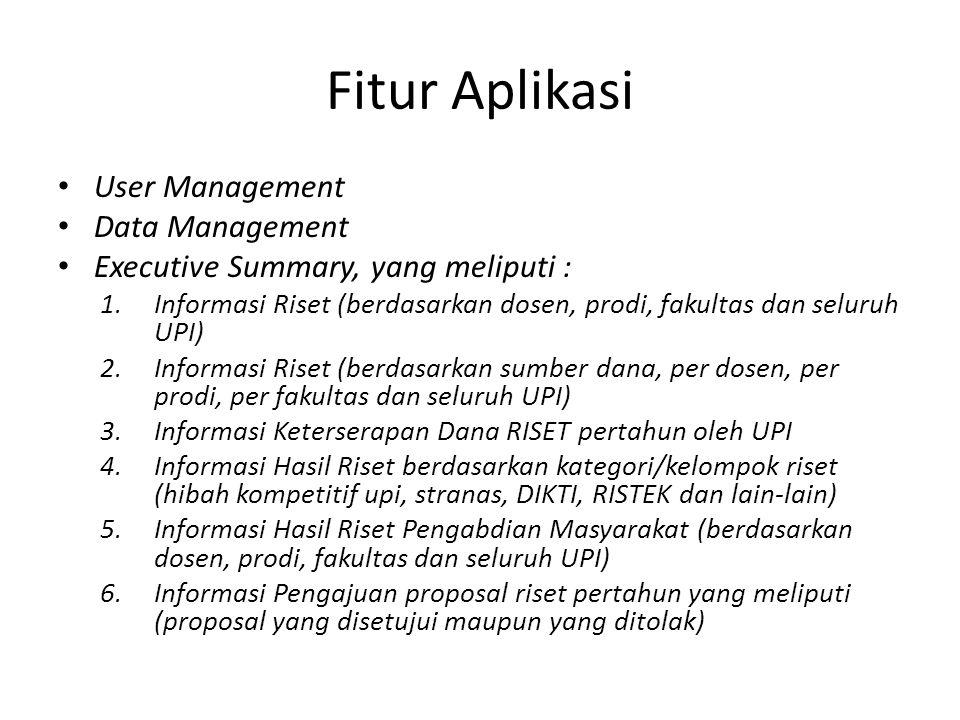 Fitur Aplikasi User Management Data Management Executive Summary, yang meliputi : 1.Informasi Riset (berdasarkan dosen, prodi, fakultas dan seluruh UP