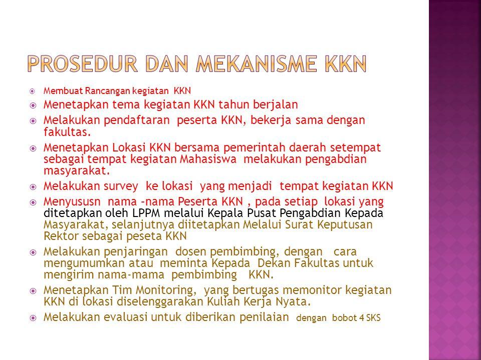  Membuat Rancangan kegiatan KKN  Menetapkan tema kegiatan KKN tahun berjalan  Melakukan pendaftaran peserta KKN, bekerja sama dengan fakultas.  Me