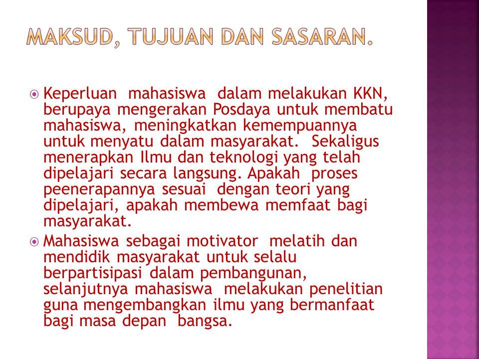  Setiap Kelompok mahasiswa yang akan membentuk posdaya, harus mempertimbangkan unit administrasi dalam membentuk posdaya yang berdasarkan jumlah penduduk, potensi yang dikembangkan dan luas wilayah yang paling kecil, seperti Dusun, Rt, atau kelompok masyarakat yang lebih kecil.
