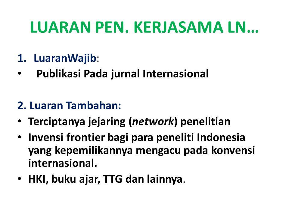 LUARAN PEN.KERJASAMA LN… 1.LuaranWajib: Publikasi Pada jurnal Internasional 2.