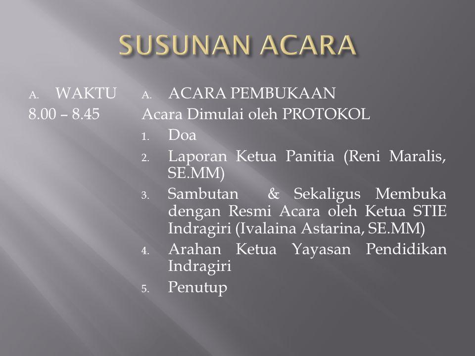 A. WAKTU 8.00 – 8.45 A. ACARA PEMBUKAAN Acara Dimulai oleh PROTOKOL 1. Doa 2. Laporan Ketua Panitia (Reni Maralis, SE.MM) 3. Sambutan & Sekaligus Memb