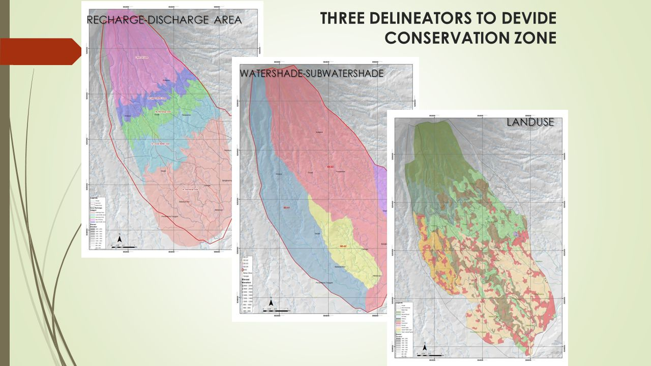 THREE DELINEATORS TO DEVIDE CONSERVATION ZONE RECHARGE-DISCHARGE AREA WATERSHADE-SUBWATERSHADE LANDUSE