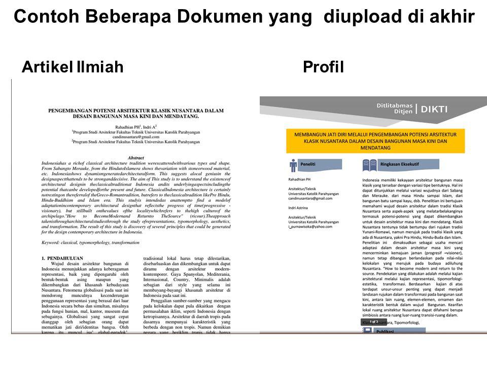 Artikel Ilmiah Profil Contoh Beberapa Dokumen yang diupload di akhir