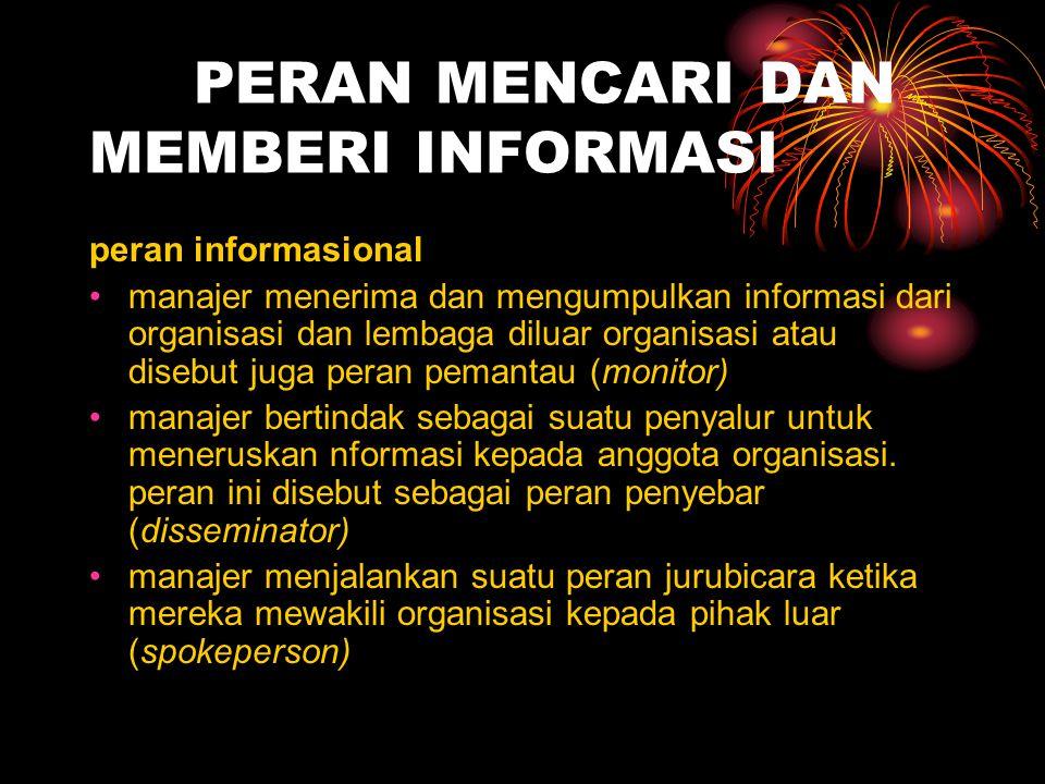 PERAN MENCARI DAN MEMBERI INFORMASI peran informasional manajer menerima dan mengumpulkan informasi dari organisasi dan lembaga diluar organisasi atau
