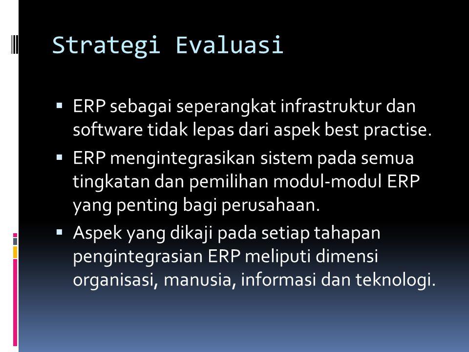 Strategi Evaluasi  ERP sebagai seperangkat infrastruktur dan software tidak lepas dari aspek best practise.  ERP mengintegrasikan sistem pada semua