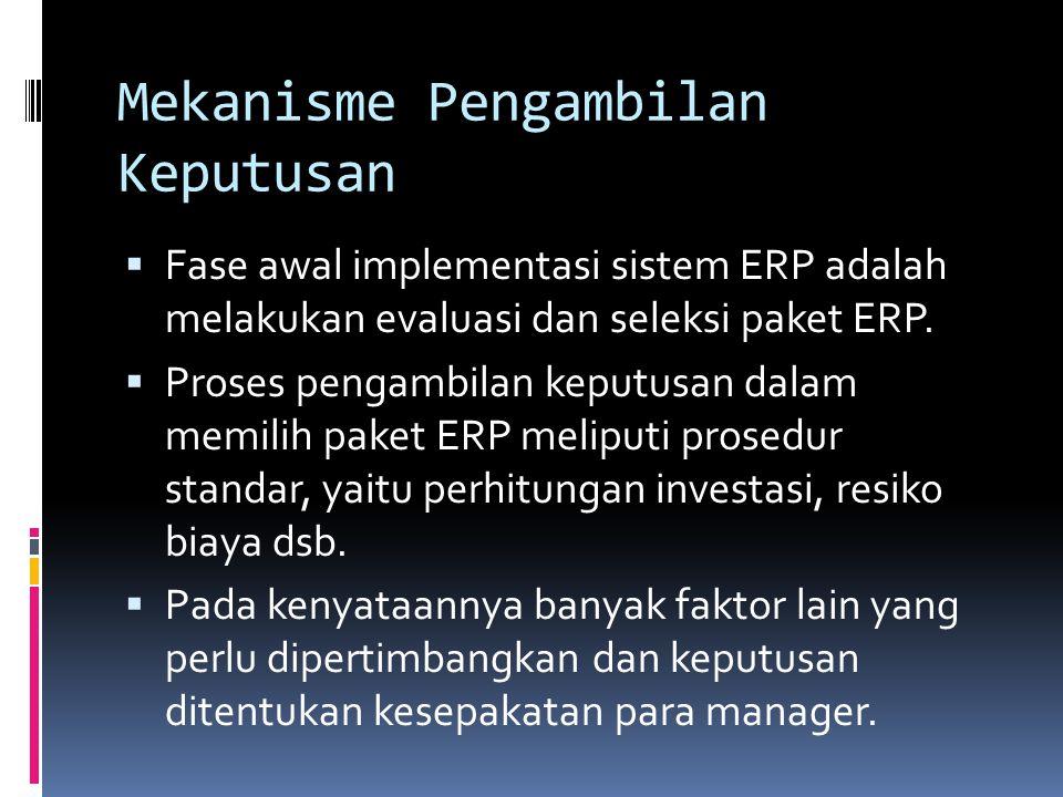 Mekanisme Pengambilan Keputusan  Fase awal implementasi sistem ERP adalah melakukan evaluasi dan seleksi paket ERP.  Proses pengambilan keputusan da