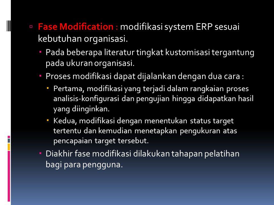  Fase Modification : modifikasi system ERP sesuai kebutuhan organisasi.  Pada beberapa literatur tingkat kustomisasi tergantung pada ukuran organisa