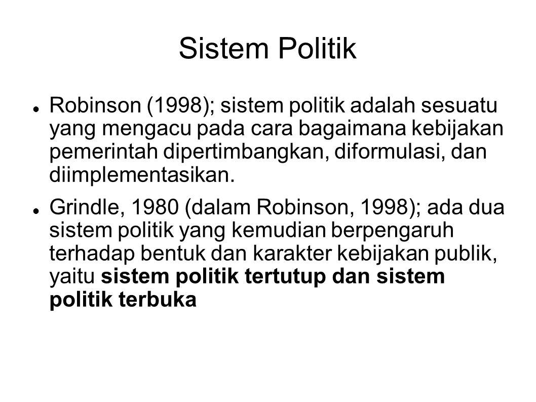 Sistem Politik Robinson (1998); sistem politik adalah sesuatu yang mengacu pada cara bagaimana kebijakan pemerintah dipertimbangkan, diformulasi, dan