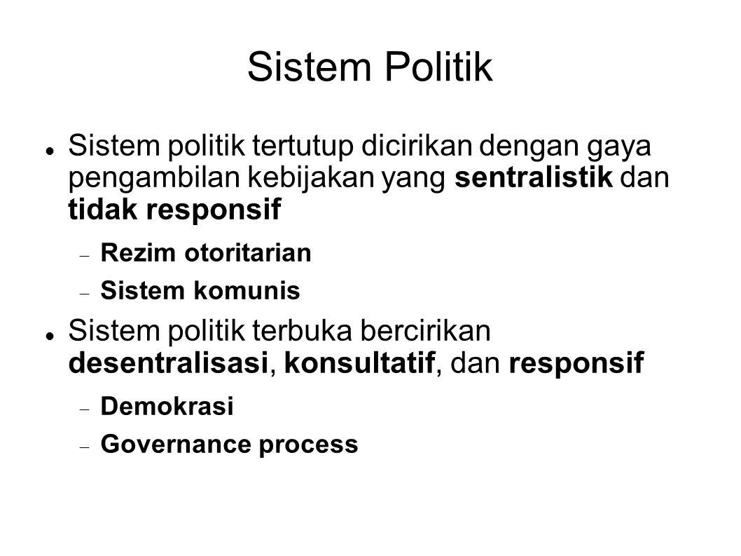 Sistem Politik Sistem politik tertutup dicirikan dengan gaya pengambilan kebijakan yang sentralistik dan tidak responsif  Rezim otoritarian  Sistem