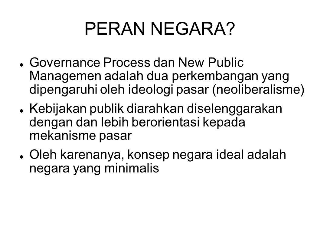 PERAN NEGARA? Governance Process dan New Public Managemen adalah dua perkembangan yang dipengaruhi oleh ideologi pasar (neoliberalisme) Kebijakan publ